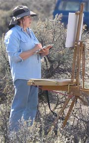 Plein-air painting in the Badlands